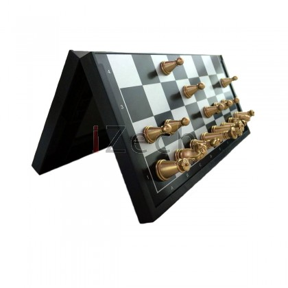 Foldable Chessboard, Magnetic Golden and Silver Color Chess Pieces
