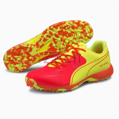 PUMA 19 FH Rubber One8 Red Blast-Yellow Cricket Shoes