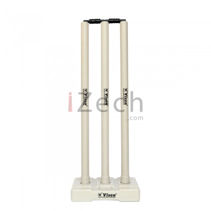 Cricket Stump Set with Base and Bails (White)