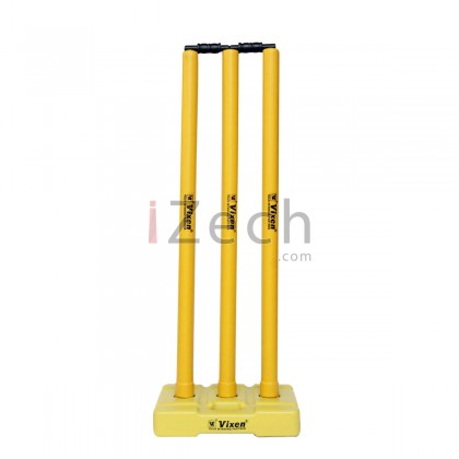 Cricket Stump Set with Base and Bails (Yellow)