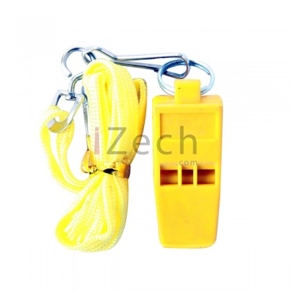 Yellow Whistle Without Cork With Lanyard, Blister Pack
